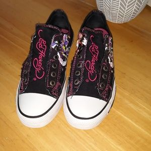 Ed Hardy Geisha Canvas Low Top Slip on Sneakers